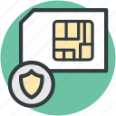microchip, mobile sim, security system, shield sign, sim card icon