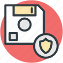 data security, database, floppy disk, locked data, shield sign icon