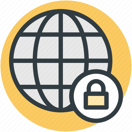 digital security, globe, internet security, lock sign, network protection icon