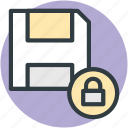 floppy disk, data security, locked data, lock sign, database