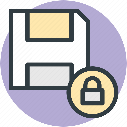 data security, database, floppy disk, lock sign, locked data icon