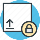 data protection, lock sign, protection symbol, upload sign, upward arrow icon
