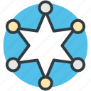 badge, law, sheriff star, six pointed, star icon