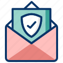 locked mail, private message, protected mail, safe, secured mail, secured transaction icon
