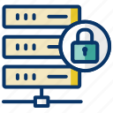 database protection, database security, locked database, secured data, secured transaction icon