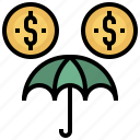 business, dollar, finance, insurance, protection, umbrella icon
