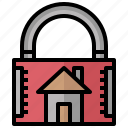 home, insurance, lock, padlock, secure, security icon