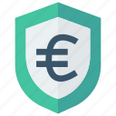 euro, money, protection, safety, shield icon