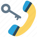 call, key, lock, password, receiver icon