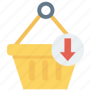 arrow, basket, down, download, trolley icon