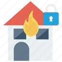 burn, house, lock, protection, secure icon