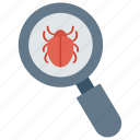 bug, find, magnifier, search, virus icon