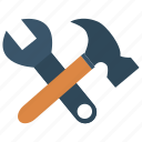fix, hammer, repair, setting, wrench icon
