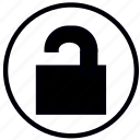 blank, lock, open, safety, security, unlocked icon
