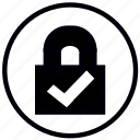 check, checked, close, lock, right, safety, security icon