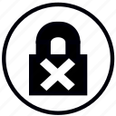 close, closed, cross, incorrect, lock, safety, security icon