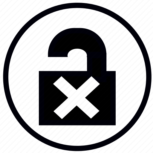 closed, cross, lock, open, safety, security icon