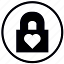 close, heart, lock, love, safety, security icon