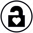 heart, lock, love, open, safety, security icon