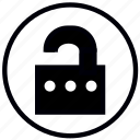 lock, open, password, safety, security icon