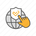 defense, globe, hand, privacy, protection, security icon
