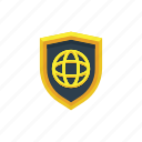 global, globe, network, protection, safety, secure, shield icon