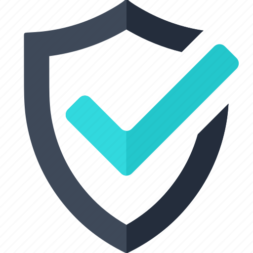 check, guarantee, mark, protection, security, shield, web icon