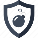alert, bomb, danger, protection, security, shield, virus icon