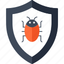 bug, danger, hacked, security, shield, virus icon