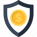 coin, dollar, insurance, money, security, shield, strategy icon