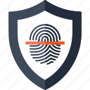 finger, fingerprint, identity, scan, scanner, security, shield icon