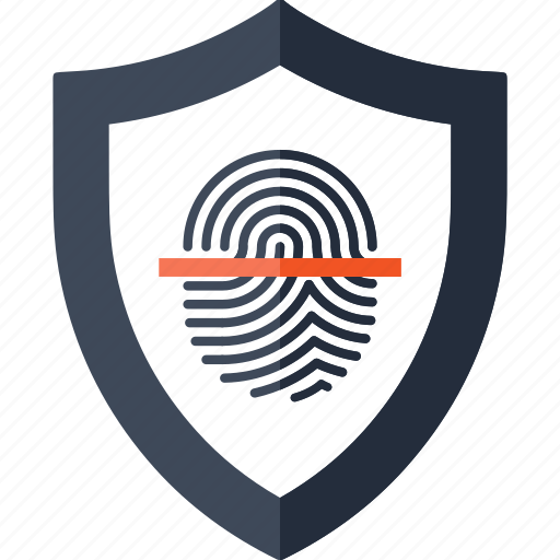 finger, fingerprint, identity, scan, scanner, security, shield icon