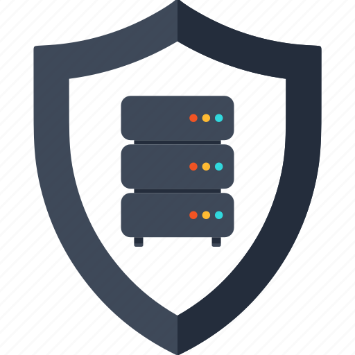 database, network, protection, security, server, shield, web icon