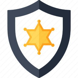 badge, police, protection, security, sheriff, shield, star icon
