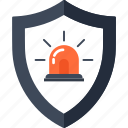alarm, police, problem, shield, siren, unsecure, virus icon
