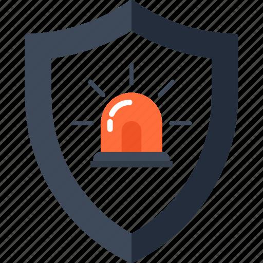 alarm, police, problem, shield, siren, unsecure, virus icon