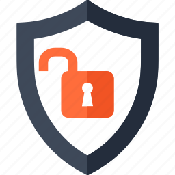 hacked, lock, protection, shield, unlock, unsecure, virus icon