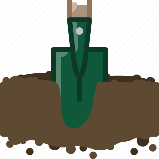 digging, earth, garden, hole, seeding, spade, yumminky icon