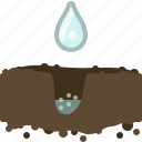 garden, gardening, hole, seeding, seeds, water, yumminky icon