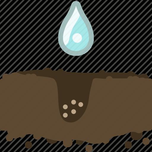 earth, garden, seeding, seeds, water, watering, yumminky icon