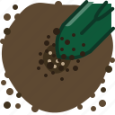 earth, garden, hole, pouring, seeding, seeds, yumminky icon