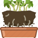 earth, earthen, flowerpot, plant, replanted, seeding, yumminky icon