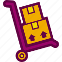 box, delivery, hand, package, stack, trolley icon
