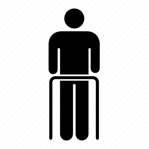 old man, rehabilitation, retirement, user, veteran, walker, walking aid icon