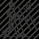 nordic, active, senior woman, ski walking icon