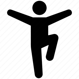 balance, balancing, person, sense, standing on one leg icon
