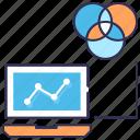 analytics, chart, color balance, report, statistics, venn diagram icon