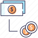 cash flow, conversion, flat money, money exchange, money flow icon