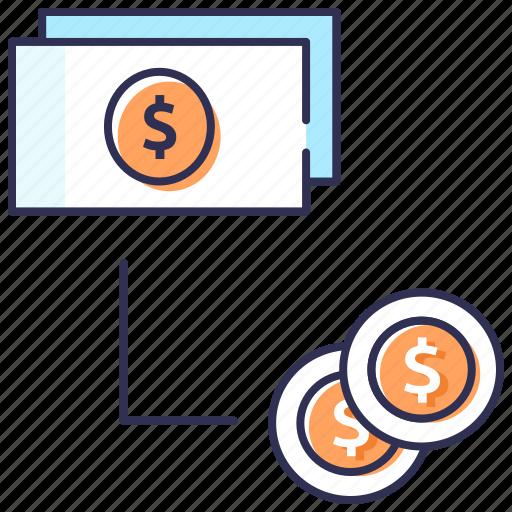 cash flow, conversion, flat money, money exchange, money flow icon