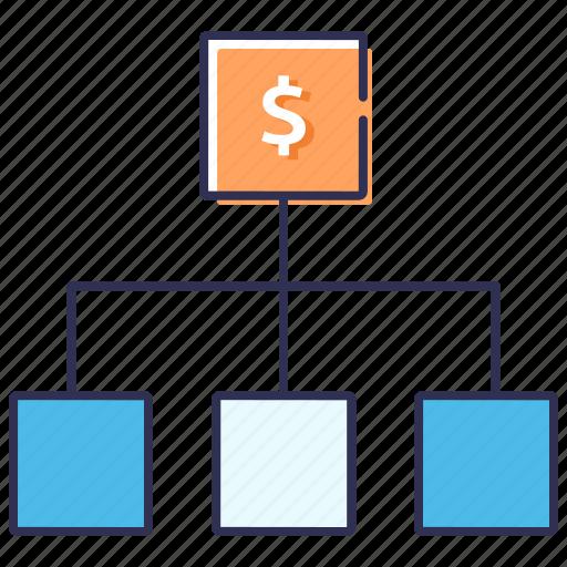 budget, cash flow, hierarchy, planning, schema, stock exchange icon